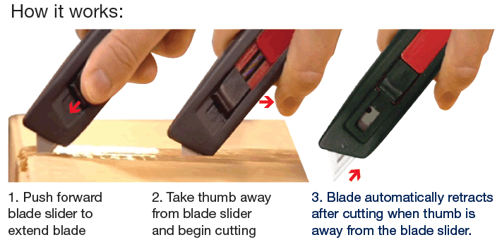 Diplomat A33 auto retractable safety knife how it works