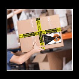 ShockDot impact indicator mounted on box