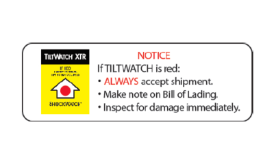 Tiltwatch alert sticker