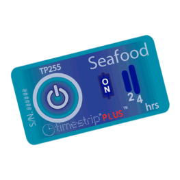 Seafood temperature indicator showing activation