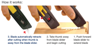 Diplomat A33LH auto retractable safety knife how it works