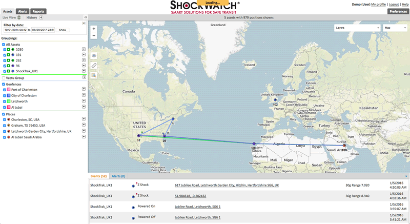 ShockTrak impact monitoring and tracking system cloud software