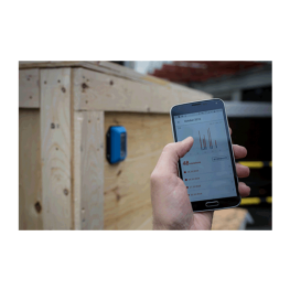SpotBot BLE impact recorder mounted on box with mobile download