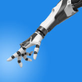 3d rendering of a robotic arm with fingers half-curled and the index finger pointing out. Unexpected help. Assistance from technologies. Robotics intelligence.