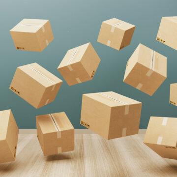 Cartboard boxes, 3d illustration concept